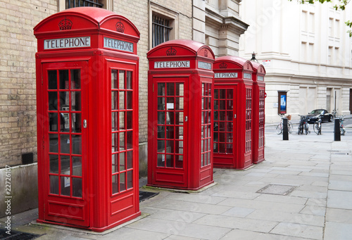 Typical red London phone booth - Buy this stock photo and