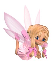 Cute Toon Ballerina Fairy in Pink - lounging