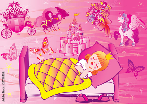 Staande foto Kasteel Princess sleeps in bed. Fairy-tale. Vector art-illustration.