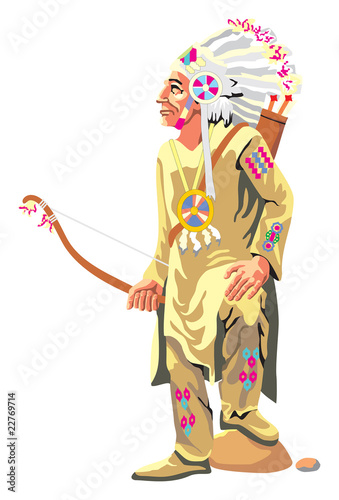Poster Indiens vector Injun holding a bow