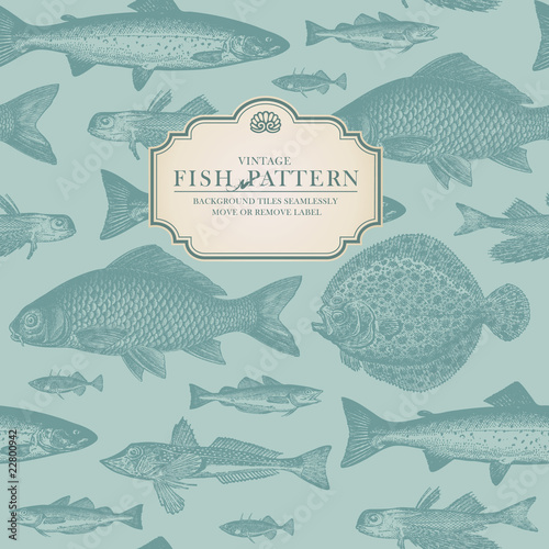 Fotografija retro fish pattern (background behind label tiles seamlessly)