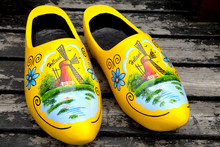 Painted Typical Dutch Wooden Shoes