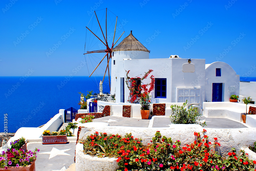 Fototapeta Windmill on Santorini island, Greece