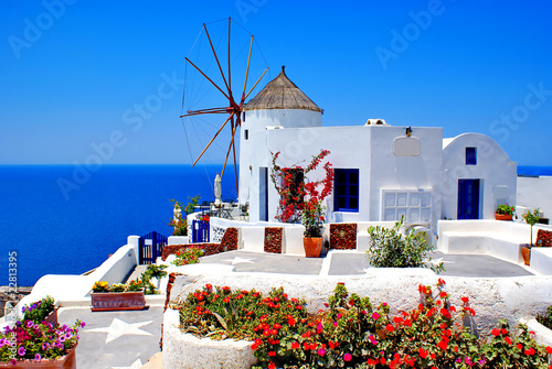 Fototapeta Windmill on Santorini island, Greece obraz