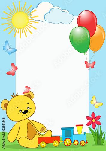 Poster Ours Children's photo framework. Bear.