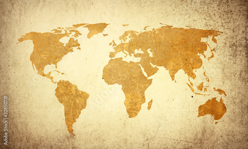 Spoed Foto op Canvas Wereldkaart world map vintage artwork=