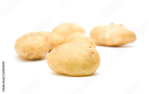 new potatoes on white background;