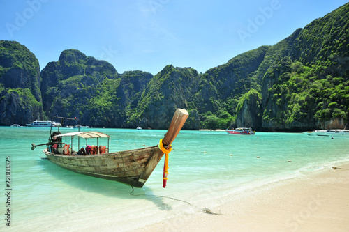 traditional Thailand boat at Phi Phi islands, Thailand Canvas Print