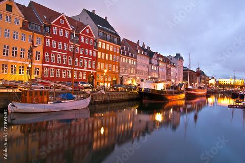 Poster Scandinavie Copenhague - Nyhavn de nuit