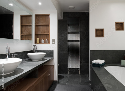Fotografia, Obraz  Luxury Bathroom with His and Hers Sinks