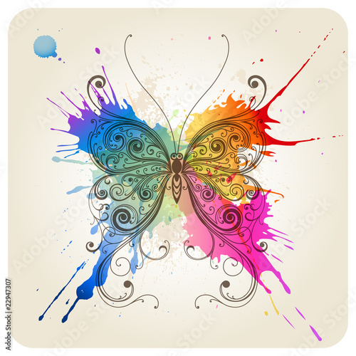 Fotobehang Vlinders in Grunge Vector decorative butterfly