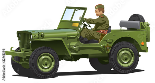 Poster Militaire World war two army jeep.