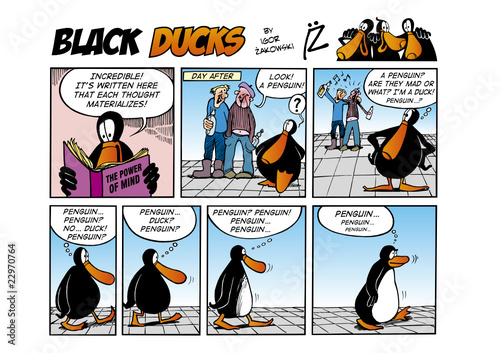 Spoed Fotobehang Comics Black Ducks Comic Strip episode 44