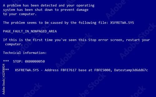 Fényképezés  PC crash screen