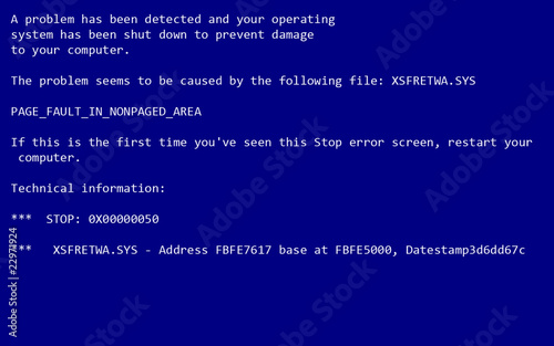 Fotografía PC crash screen