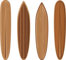 Wooden Surfboards Set. To See The Other Vector Surfboard Illustrations , Please Check Surfboards Collection.