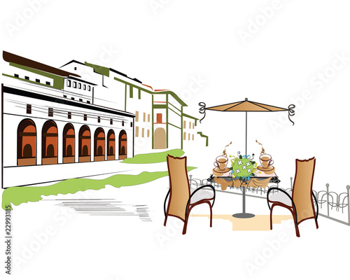 Foto auf AluDibond Gezeichnet Straßenkaffee City cafe