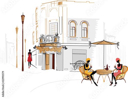 Foto auf AluDibond Gezeichnet Straßenkaffee City cafe with people