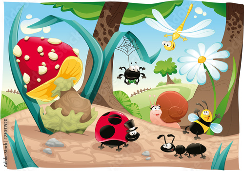 Poster Chambre d enfant Insects family on the ground. Funny cartoon and vector scene.