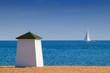 Leinwandbild Motiv cabine de plage et voilier