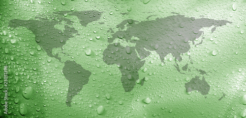 Fotobehang Wereldkaart close up shot of water droplets with world map