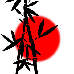 Fototapeta Japoński Abstract background with bamboo branches and the red sun