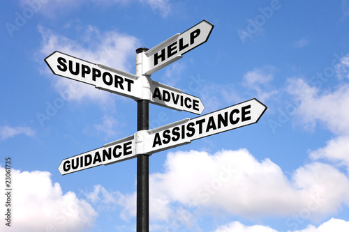 Photo Help and support signpost