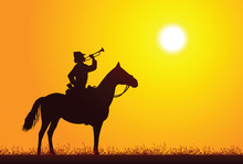 Silhouette Of A Soldier On Hor...