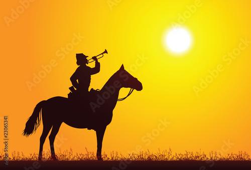 Fotografie, Obraz  Silhouette of a soldier on horseback