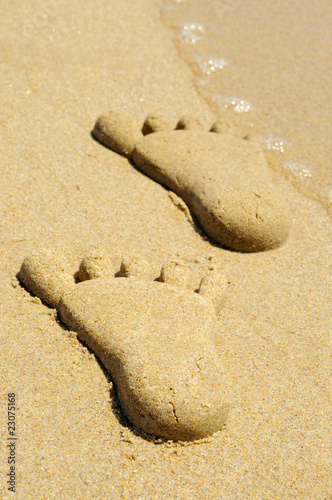 Acrylic Prints Stones in Sand footprints