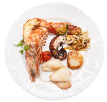 Grilled Seafood On A Plate, Isolated