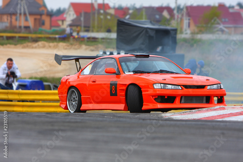Poster Voitures rapides Red car drifting