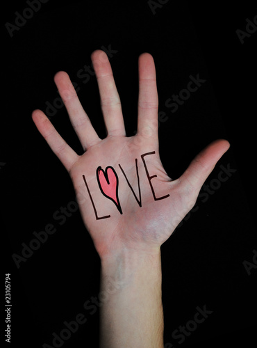 Photo Love written on Hand