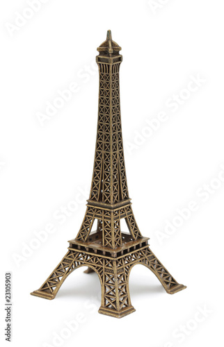 Eiffel Tower Statue, isolated on white Poster