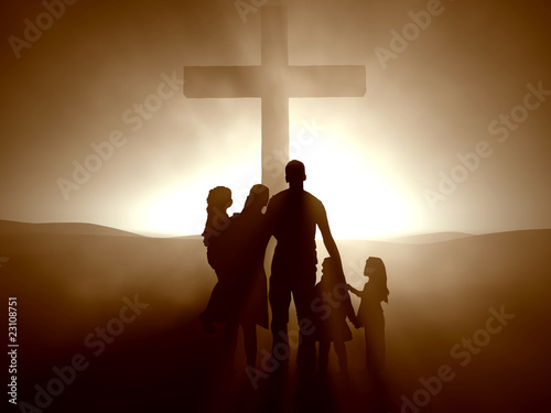 Stampa su Tela Family at the Cross