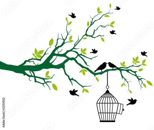 In de dag Vogels in kooien spring tree with birdcage and kissing birds