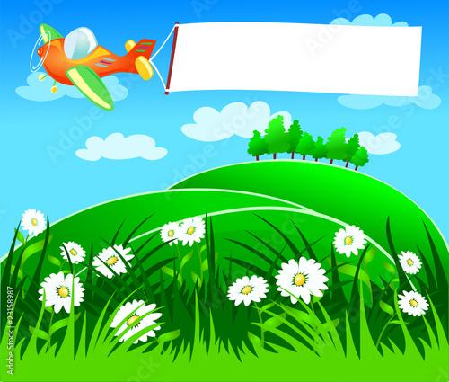 Papiers peints Avion, ballon Aereo e banner, sul prato