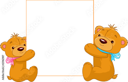 Printed kitchen splashbacks Fairytale World Two Bears holding a blank sign