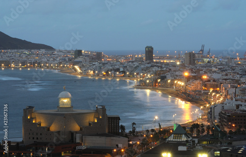 The city of Las Palmas de Gran Canaria at dusk