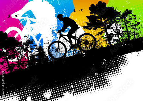 Colored mountain bike abstract background
