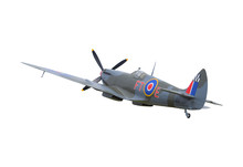 Spitfire Fighter Plane Isolated On White Background