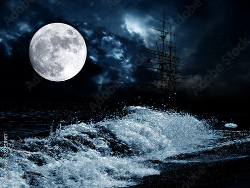 Poster Rivière de la forêt full moon over the night sea and old sailing ship