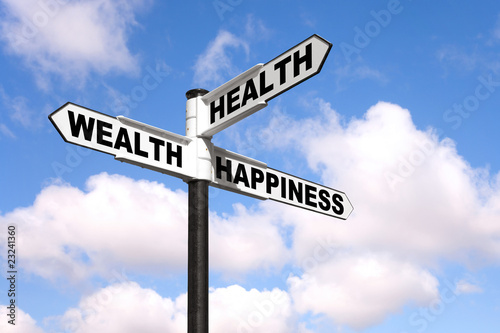 Health Wealth Happiness signpost Fototapet