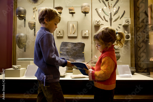 boy and little girl at excursion in historical museum Wallpaper Mural
