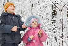 Boy And Little Girl With Petard In Hands In Winter In Wood