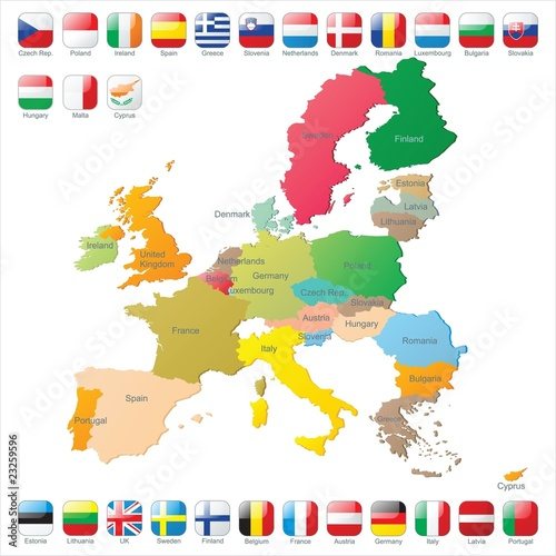 Photo  the European Union map with flags