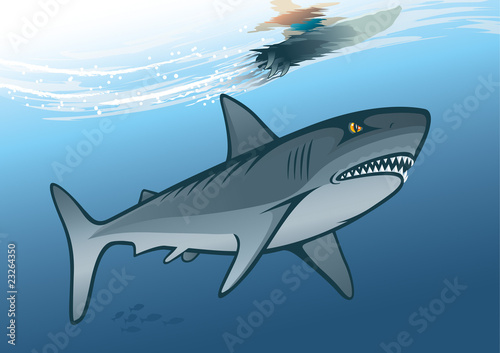 Fototapeta Angry shark and surfer riding on water wave