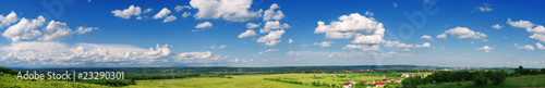 Poster Bleke violet beautiful panorama of Arges county landscape in spring
