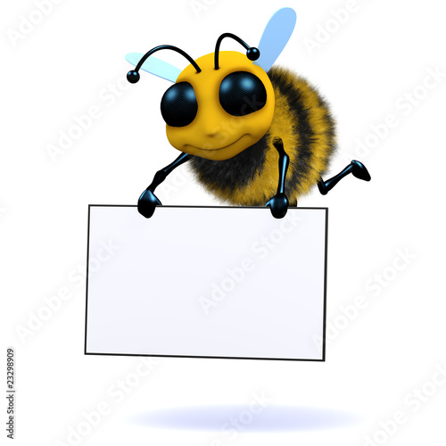 Poster Bee 3d Bee holds blank sign