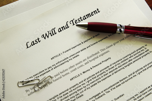 Photo Last Will and Testament documents  with misc items